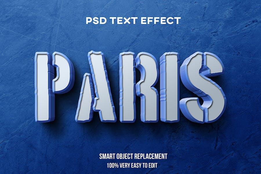 Efecto de texto 3D de París