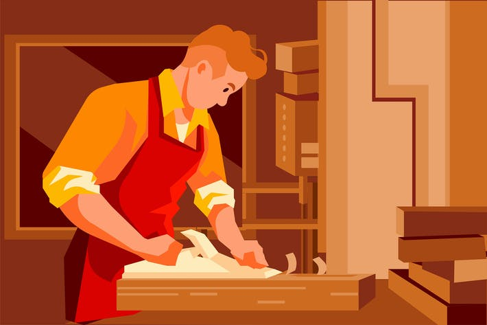 Thumbnail for Handsome carpenter working with a wood