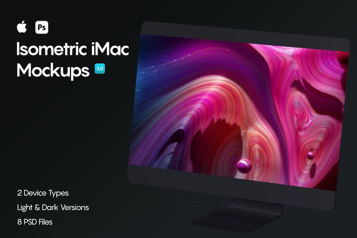 Thumbnail for Isometric iMac Pro Mockup 3.0