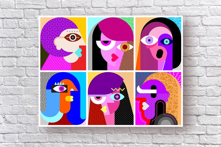 Six Faces / Six Portraits layered vector artwork