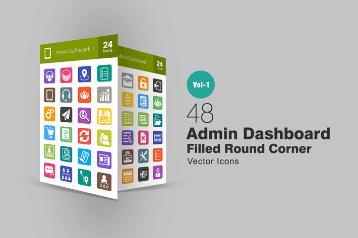 Thumbnail for 48 Admin Dashboard Filled Round Corner Icons