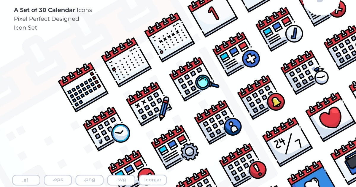 Download 30 Calendar Icons by Justicon