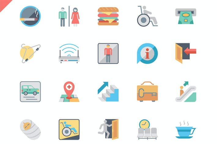 Thumbnail for Простой набор публичных навигационных плоских Иконки