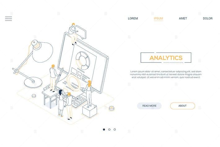 Thumbnail for Analytics - Liniendesign Stil isometrische WebBanner