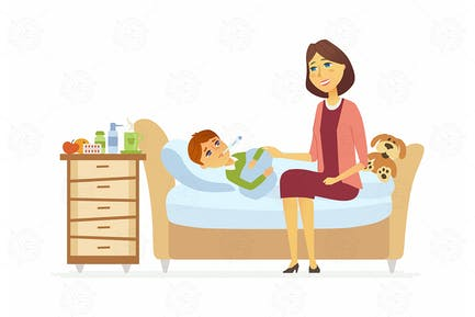 Mother with an ill boy - vector illustration