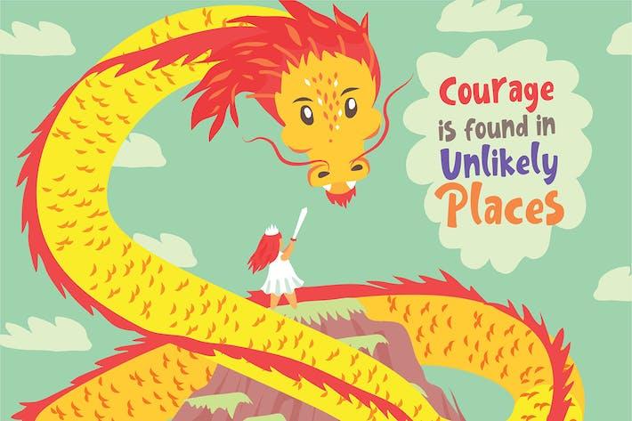 Thumbnail for Girl VS Dragon - Vector Illustration