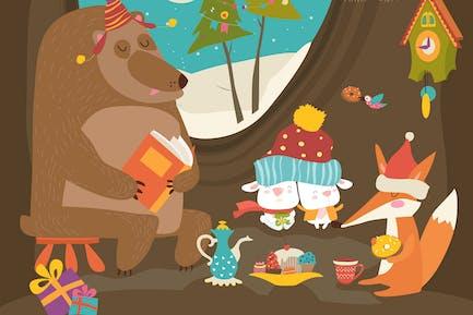 Animales lindos celebrando la Navidad en la guarida. Vector