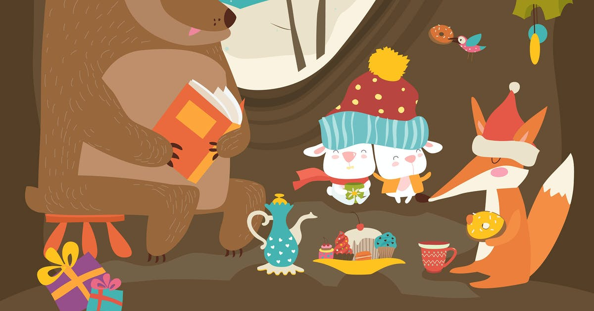 Download Cute animals celebrating Christmas in den. Vector by masastarus