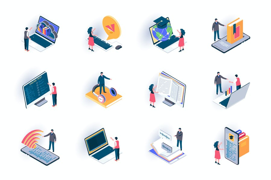 Online Education Isometric Icons Pack