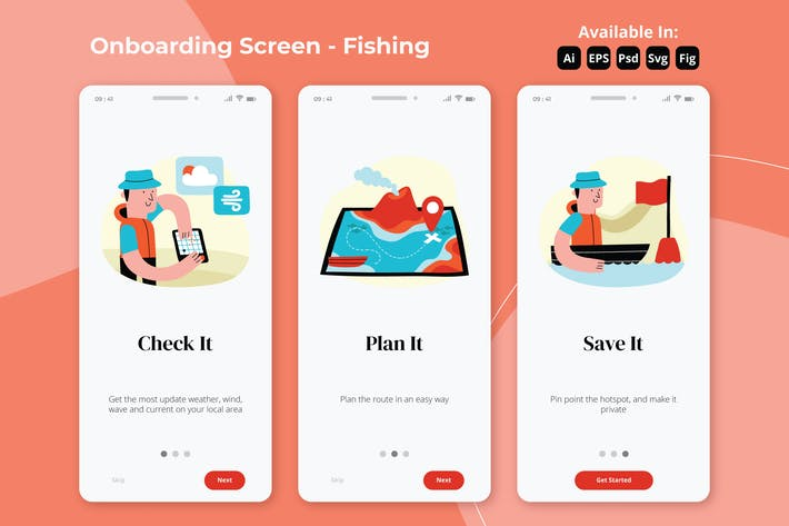 Thumbnail for Fishery and Nautical Onboarding screens
