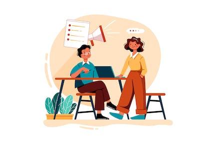 Employee Doing Planning For Digital Marketing