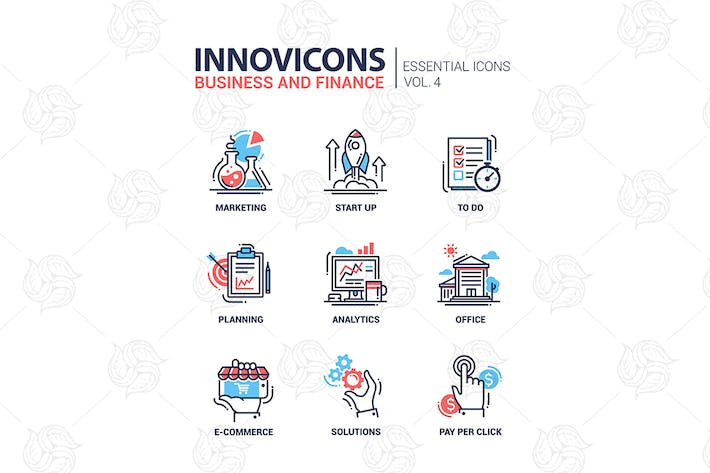 Thumbnail for Modern office, business line flat design icons set