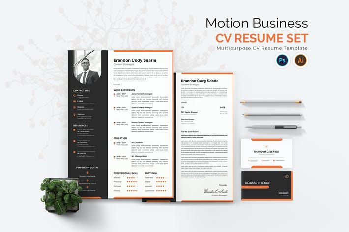 Thumbnail for Motion Business CV Resume Set