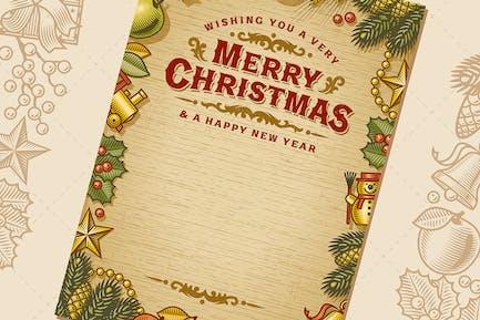 Vintage Frohe Weihnachtskarte mit Kopierraum