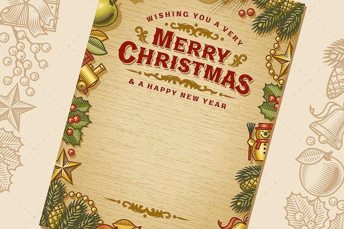 Tarjeta de felicitación navideña vintage con espacio de copia.