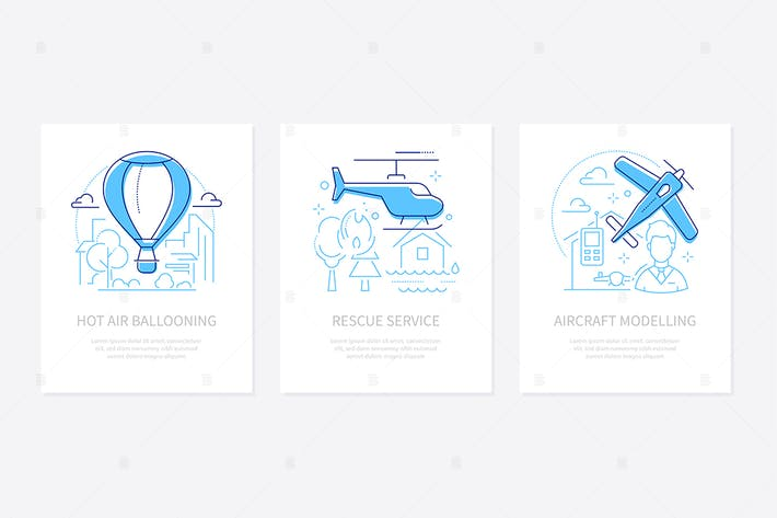 Thumbnail for Airline transportation - line design style banners