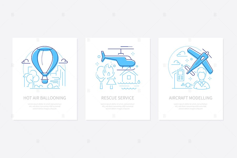Airline transportation - line design style banners