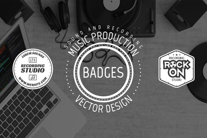 Thumbnail for Retro Music Recording Logo & Vintage Sound Badges