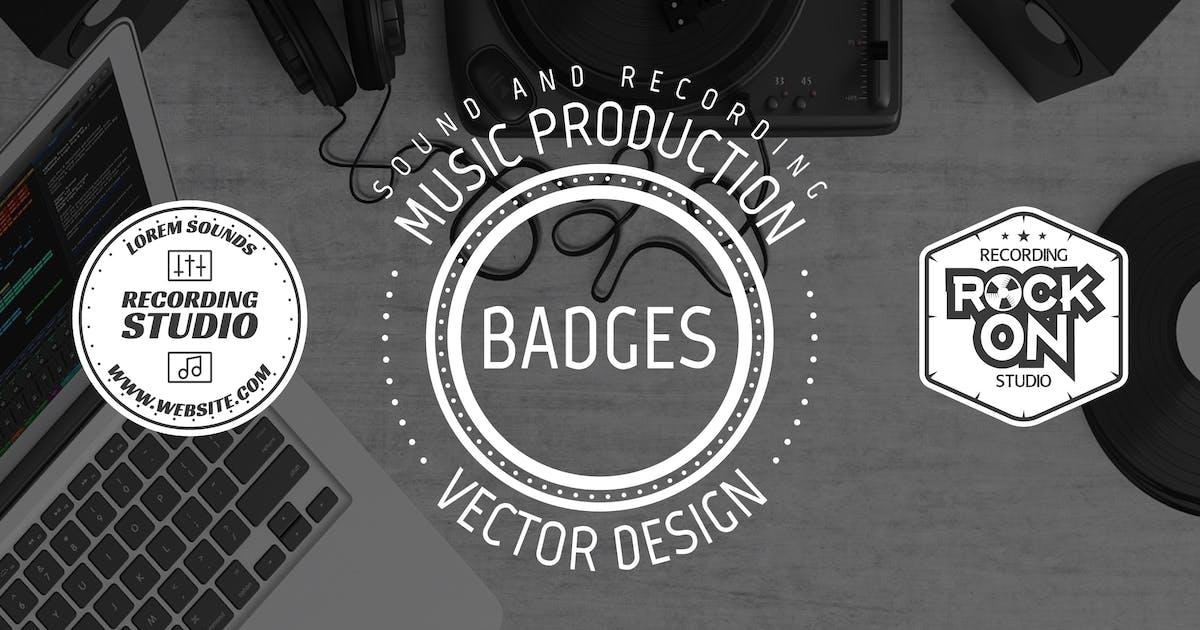 Download Retro Music Recording Logo & Vintage Sound Badges by JeksonJS