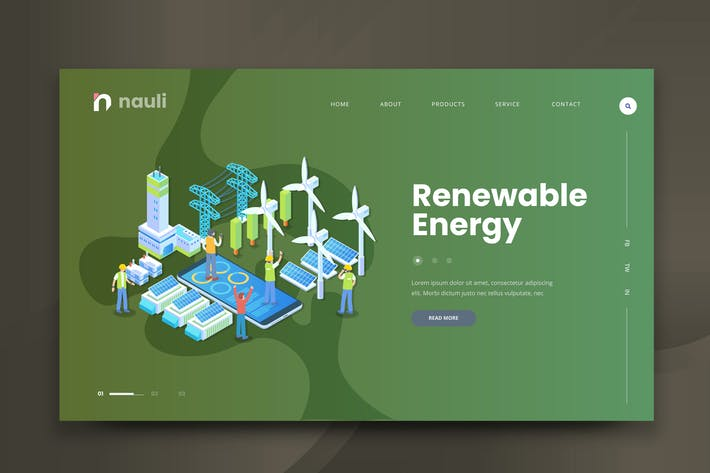 Thumbnail for Isometric Renewable Energy Web PSD and AI Vector