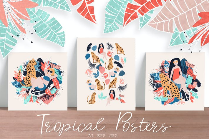 Tropical Girls vector posters