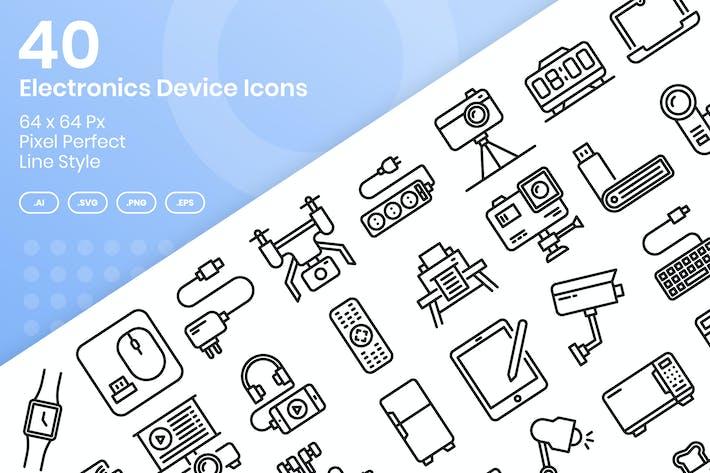 Thumbnail for 40 Electronic Device Íconos Set - Línea