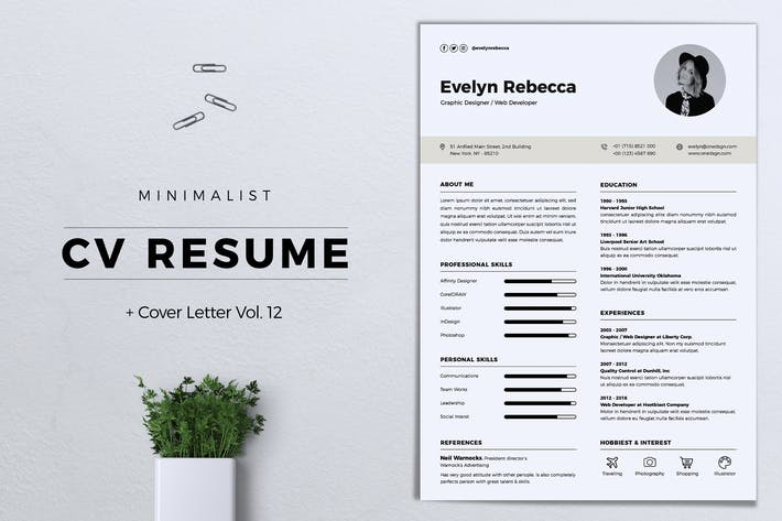 Thumbnail for Minimalist CV Resume Vol. 12