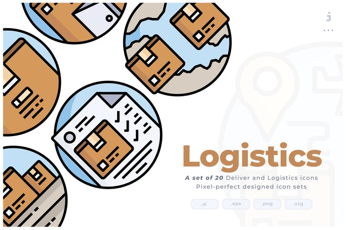 Thumbnail for 20 Logistics Colorline Circular Icon set