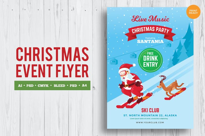 Thumbnail for Merry Christmas Event Flyer PSD und Vektor Vol.2