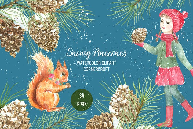 Watercolor Snowy Pinecones - product preview 0