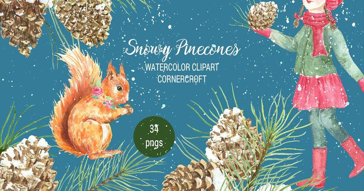 Download Watercolor Snowy Pinecones by cornercroft