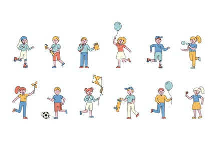 Children Lineart People Character Collection