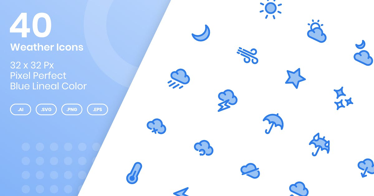 Download 40 Weather Icons Set - Blue Lineal Color by kmgdesignid