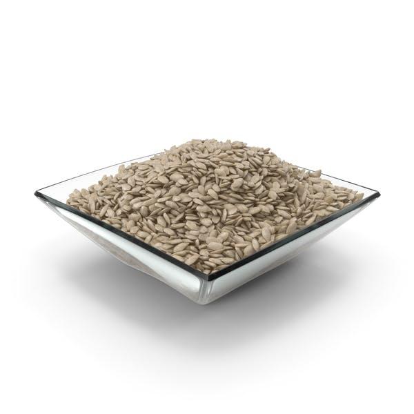 Cuenco cuadrado con semillas de girasol peladas