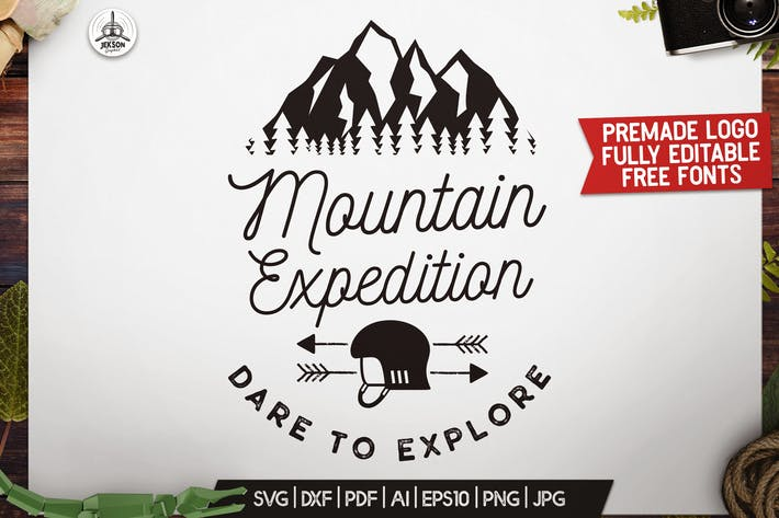 Cover Image For Outdoor Explore Logo, Retro Camping Badge Template