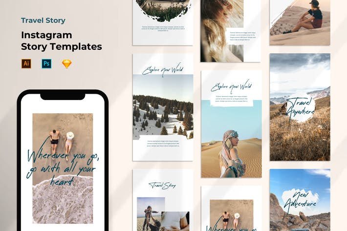 Cover Image For Instagram Story Template - Travel Brush Design