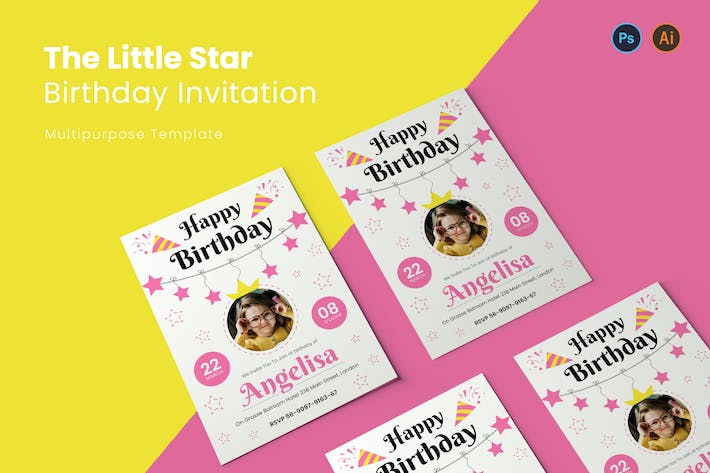 Thumbnail for Little Star Birthday Invitation