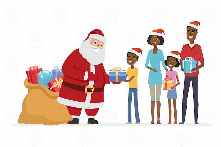 Thumbnail for Le Père Noël félicite une famille - illustration