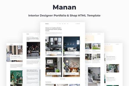 Manan - Modèle HTML Architecte d'Intérieur