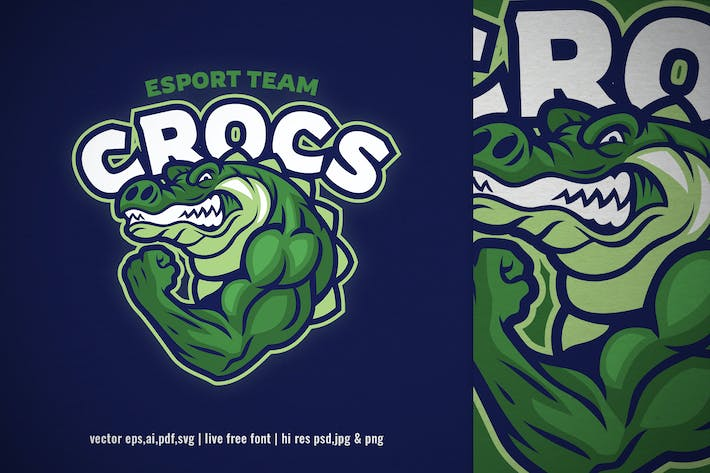 Thumbnail for crocodile muscle mascot for sport and esport logo