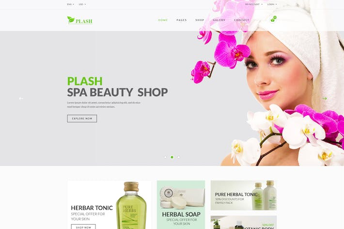 Thumbnail for Plash Spa - eCommerce PSD Template