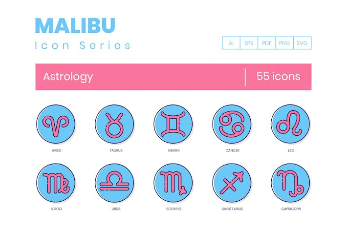 Thumbnail for 55 Astrologie Icons - Malibu Serie