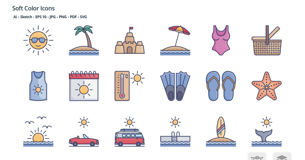 Download Summer soft color icons by roundicons