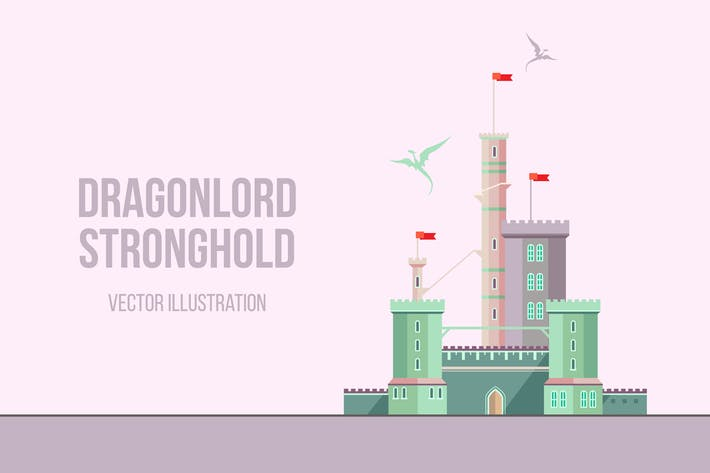 Thumbnail for Dragonlord Stronghold Flat Illustration