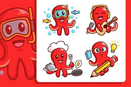 Oktopus-Zeichentrickfigur