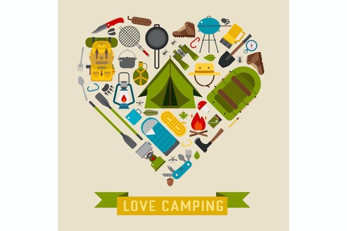 Thumbnail for Love Camping Heart Stylized Concept