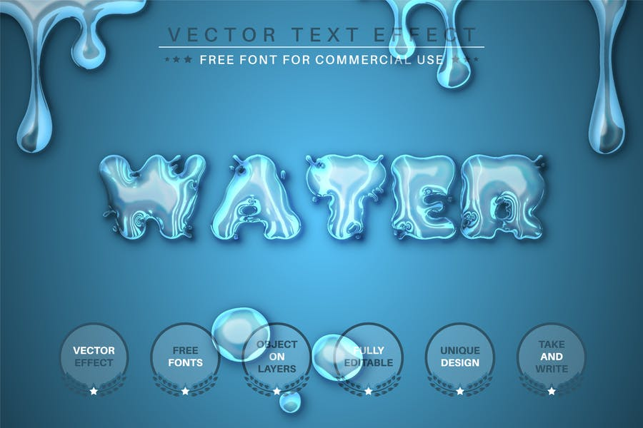 Blue Water -  Editable Text Effect, Font Style