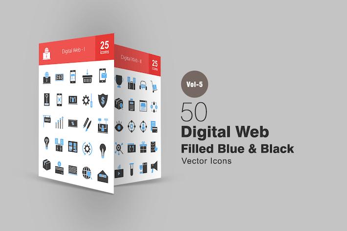 Thumbnail for 50 Digital Web Blue & Black Icons