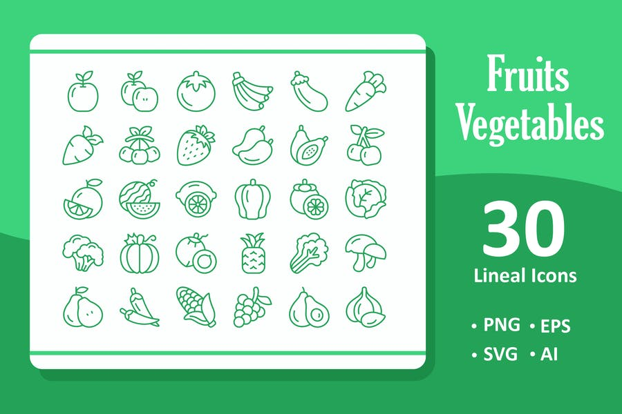 30 Fruits and Vegetables Icons