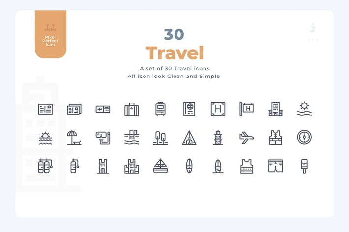 Thumbnail for 30 Travel Icons - Material Icon